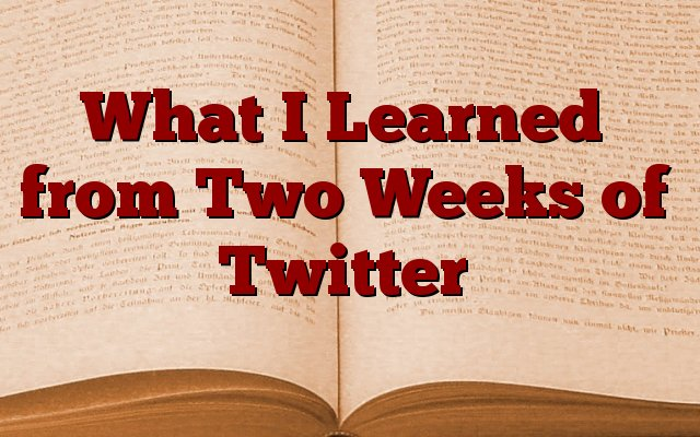 What I Learned from Two Weeks of Twitter